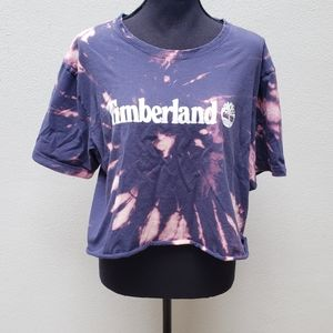 Timberland custom bleach dyed and cropped tee